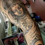 Tattoo Jos Oss Black and grey 2 sleeve boedha