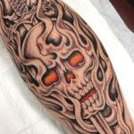 Tattoo Jos Oss Black and grey 37 skull flames